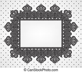 Vintage card with chrochet lace frame