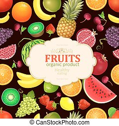 vintage card with collection of fresh fruits and berries for you