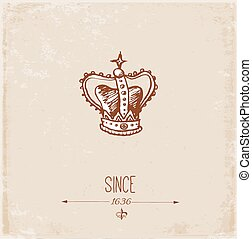 Vintage card with crown and place for your text