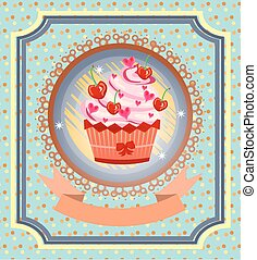Vintage card with cupcake with red cherries, bow, pink hearts, dotted background, pattern, retro design