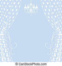 curtains and chandelier