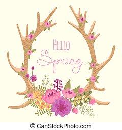 Vintage card with deer antlers and flowers. Vector...