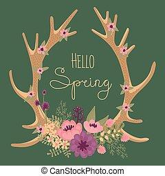 Vintage card with deer antlers and flowers.