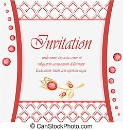 Vintage card with diamond jewelry decoration, elegant wedding invitation or announcement template, eps10 vector illustration