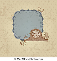 Vintage Card with Doodle Clock and gear - hand drawn in vector
