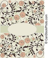 Vintage card with floral design