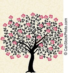 Vintage card with floral tree design