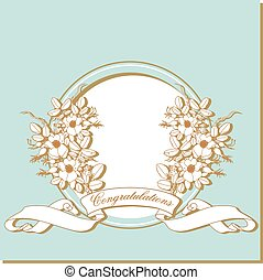 Vintage card with flowers around the frame.
