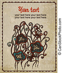 Vintage card with flowers. Hand drawn abstract background. Can be used for banner, invitation, wedding card, scrapbooking and others. Royal vector design element.