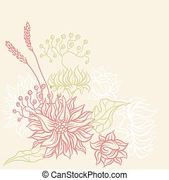 Vintage card with flowers. Vector background for you design