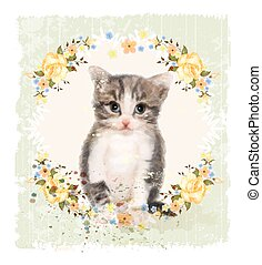 Vintage card with fluffy kitten and roses. Imitation of...