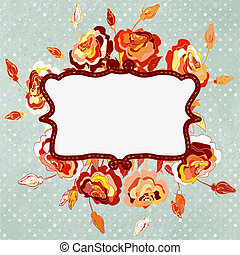 Vintage card with frame and rose. EPS 8