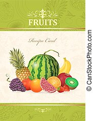 vintage card with fresh fruits and berries for your design