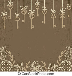 skeleton keys - Vintage card with hanging antique skeleton...