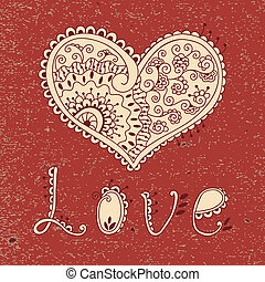 Vintage card with hearts