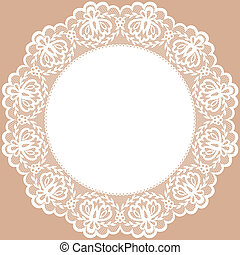 lace doily - Vintage card with lace doily
