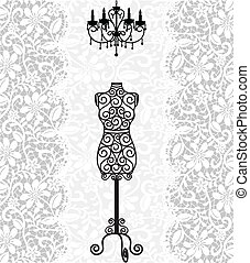 vintage card with mannequin and chandelier on lace background
