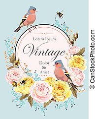 Vintage card with nightingale - Vector vintage card with...