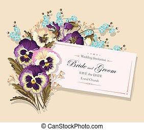 Vintage card with pansies