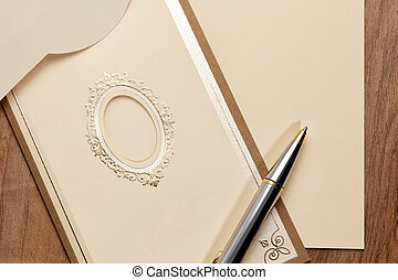 Vintage card with pen