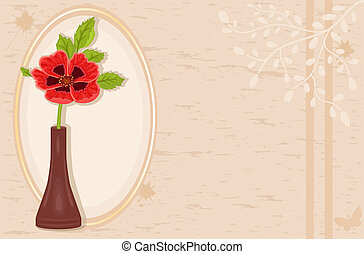 Vintage card with poppy flower