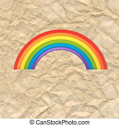 Vintage Card With Rainbow