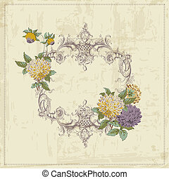 Vintage Card - with Retro Frame and Flowers - with place for your text - in vector