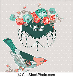 Vintage Card - with Retro Frame, Bird and Flowers - with...
