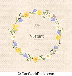 vintage card with round frame of spring flowers