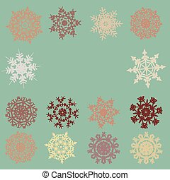 Vintage card with snowflakes. EPS 8
