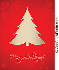 Vintage card with special Christmas tree, vector greeting card