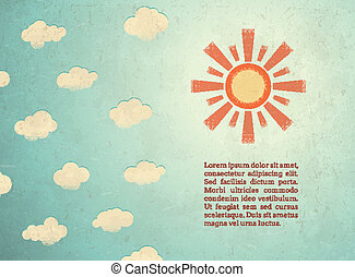 Vintage card with sun