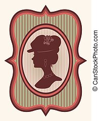 Vintage card with woman silhouette,