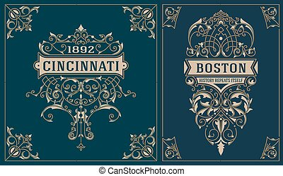 Vintage cards. vector template.