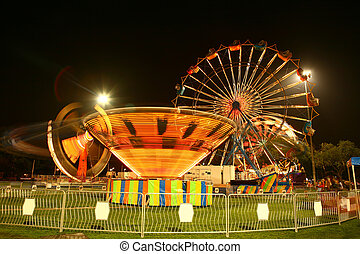 Vintage Carnival at Night With Motion Blur