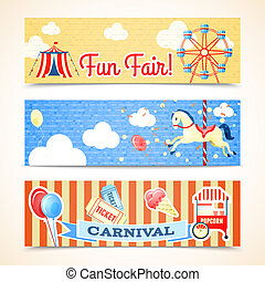 Vintage carnival banners horizontal - Vintage retro carnival...