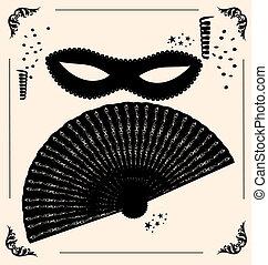 vintage carnival mask and fan - on vintage background is...