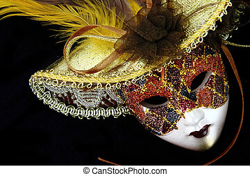 Vintage carnival mask on black background