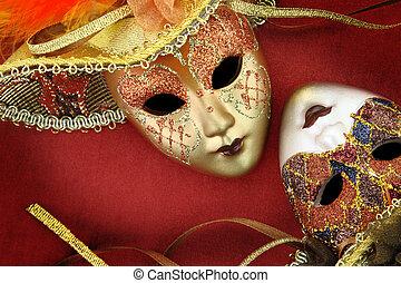 Vintage carnival masks on red background