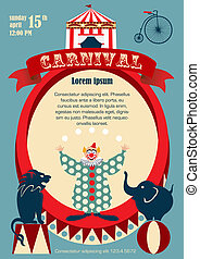 Vintage carnival or circus poster - Vector template of...