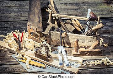 Vintage carpenter drawing desk