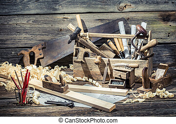 Vintage carpenter working tools