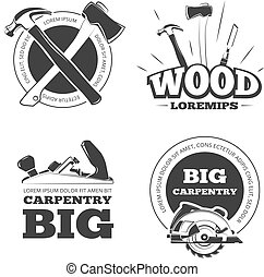 Vintage carpentry vector labels, emblems, badges and logos set