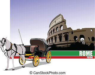Vintage carriage and horse on Rome background. Vector illustration