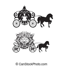 vintage carriage - two vector icons