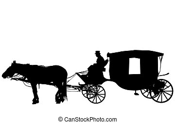 Vintage carriage with coachman