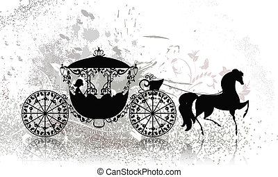 vintage carriage with horse grunge
