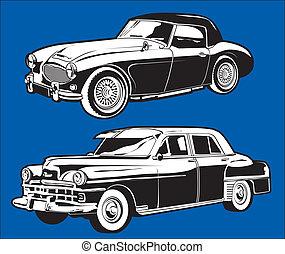 Clip art set of two antique cars