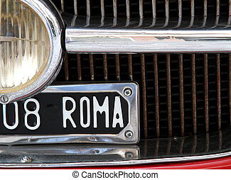vintage cars in the city of Rome