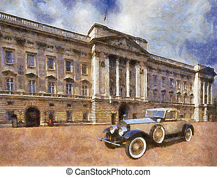 Rolls Royce Phantom II Henley Roadster in front of Palace. Oil Painting (Benson Style).